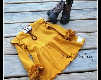Girls Knit Ruffle Tunic Dress,Ruffle sleeve tunic,Girls Fall Tunic,Mustard tunic dress,Photography,Fall girls boho outfit,thake home outfit