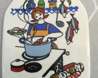 "Figgjo Flint Gerd-Design Wall plaque ""TORSKEFISKE""(Cod-Fishing) Norway"