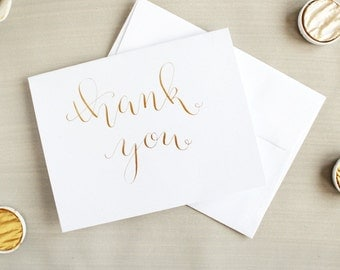 Small Thank You Cards - Thank You Cards Bulk - Wedding Thank You Cards - Baby Shower - Bridal Shower - Graduation - Gold - Rose Gold