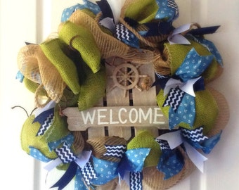 Nautical Deco Mesh Wreath in navy and other blues