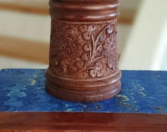 Asian/ Indian/ Indonesian Carved Wood Covered Box/ Treen Box