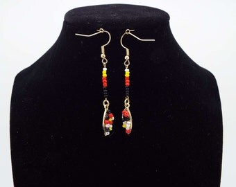 Beaded Leaf Earrings
