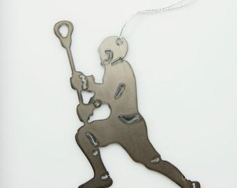 Powder Coated Steel Lacrosse Ornament