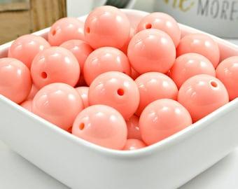 20mm Peach Bubblegum Beads - Peach Wholesale Beads - Peach Chunky Necklace Beads - Peach Chunky Bubble Gum Gumball Gum Ball Beads