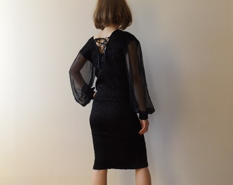 vintage black sheer dress / tight dress / avant garde / modern design / party dress / midi dress