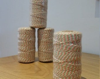 Orange, Green & White Twine 100m