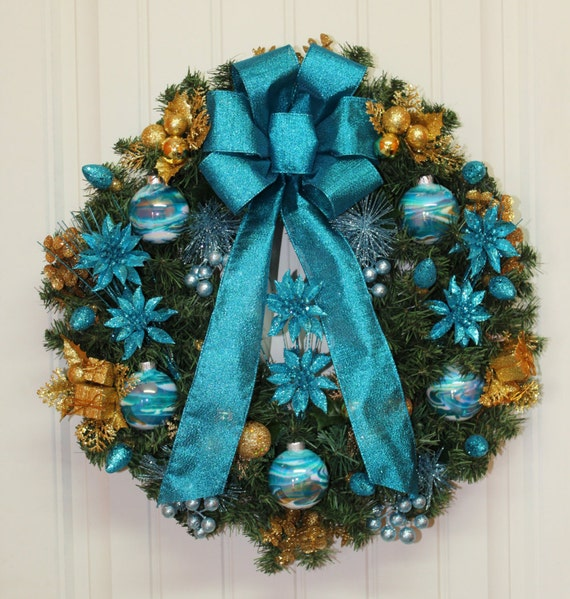 Red Turquoise Not Just For Holiday Decor: Christmas Wreath Teal Turquoise With Teal White & Gold