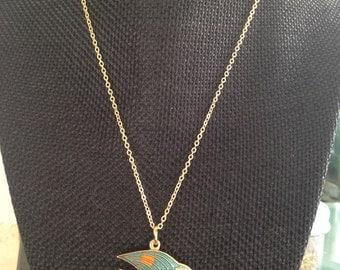 Cloisonné Fish Pendant, cloisonné fish, vintage cloisonné pendant, cloisonne pendants, vintage cloisonne jewelry, fish cloisonné, N16