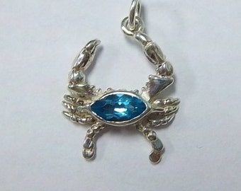 Sterling Silver Blue Topaz Crab Pendant Charm