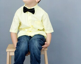 Black Satin Bow tie, Adjustable bowtie, Baby Boy Tie, Ring Bearer Tie, Ring bearer outfit, Boys tie