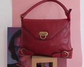 vintage red leather bag / French Bag / burgundy leather bag / vintage / 60's
