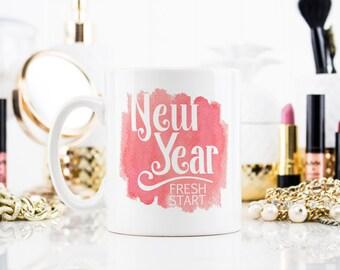 Coffee Mug Tea Cup - New Year Fresh Start - Gift For Her Him Friend Family Birthday Gift Unique Motivational Mug  - 0101