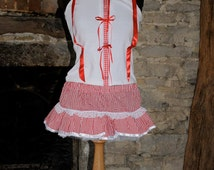 Gingham Dorothy costume, cute red & white lolita outfit - vest top and mini skirt, kawaii clothing