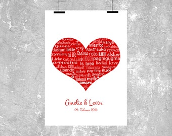 "Print / Druck ""Love heart 47 languages 2"""