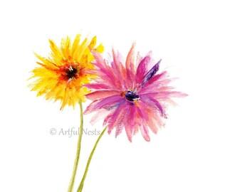 Chrysanthemum flower print, personalized birth announcement November birth month.