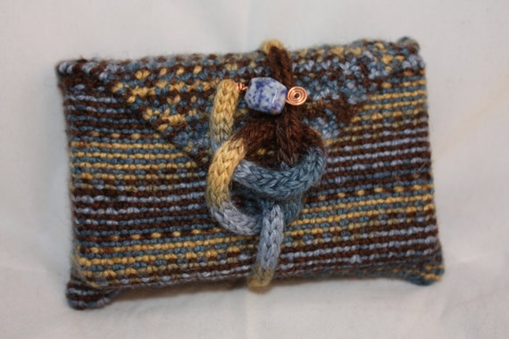 Knit Pattern Tarot Bag : Knitted Linen Tarot Pocket tarot bag tarot