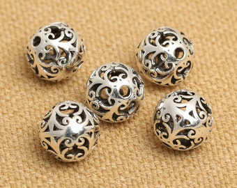 10mm Sterling Silver Spacer Beads 925 Antique Bali Silver Filigree Hollow Round Beads 10mm for Necklace or Bracelet DIY S415