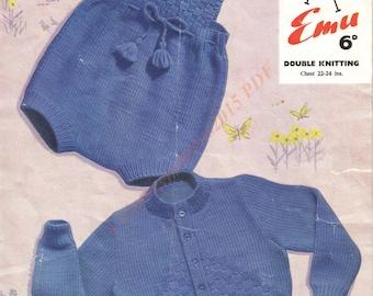 "Cardigan And Romper Set Knitting Pattern DK 22-24"" -   PDF Download"