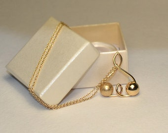 Gold BALL NECKLACE // Dot Necklace - Minimalist Necklace - Charm Necklace - Circle Necklace - Drop Necklace - Everyday Necklace