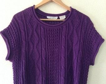1980s purple knit sleeveless sweater
