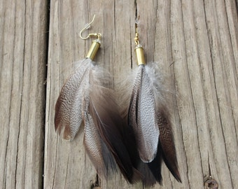 CLEARANCE!! Handmade .22 Caliber Brass Bullet and Feather Earrings for the Country Hunting Girl, Bullet Earrings
