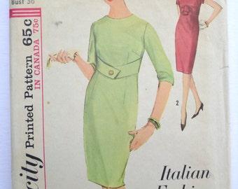 Simplicity 5178 Vintage Sewing Pattern 1960's Italian Fashion Women's Dress