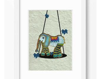 ELEPHANT BALANCE ILLUSTRATION Children Print Wall Decor Nursery Room Art  Decor Home Decor Affiche Art Nature