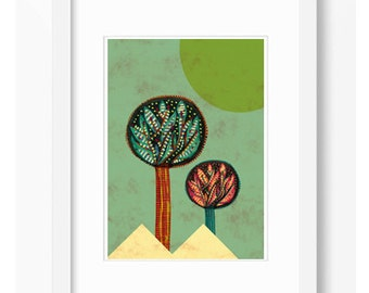 2 TREES GREEN Illustration Affiche Tree Landscape Print Art Home Decor Print Different size