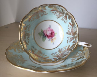 Paragon Roses Vintage Teacup and Saucer, Light Blue Tea Cup and Saucer, Pink Rose English Bone China, Double Warrant, 1940s