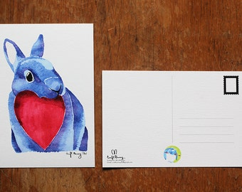 Bunny Holding a Heart Watercolor Postcard Print