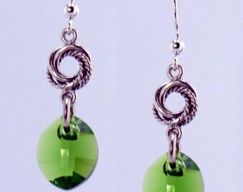 Green Crystal Silver Earrings - E1974