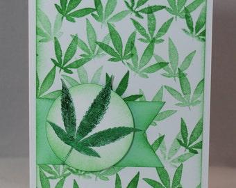 Shiny Cannabis Leaf Handmade Card