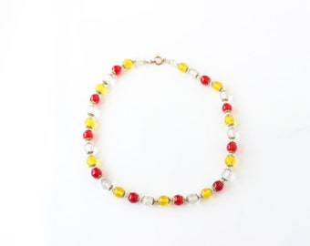 Vintage Glass Red Clear Yellow Bead Necklace