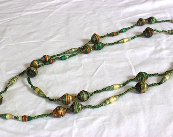 Beige Green Orange Long Necklace 52 in