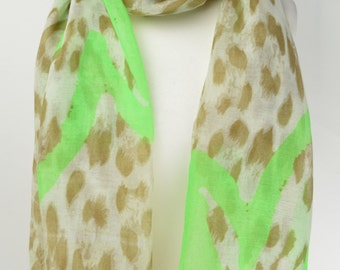 Green Graffiti Heart Animal Print Scarf/Wrap/Shawl/Cover Up/Scarves
