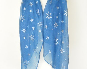Blue Snowflake Snowing Print Scarf, Wrap, Shawl, Cover Up, Scarves, Christmas Gift, Winter Scarf, Ladies Gift, Silver Foil, Oversize Scarf