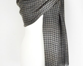 Houndstooth Bronze Black Pashmina Shawl/Wrap/Scarf/Cover Up/Formal/Wedding/Gift/Party/Mother of the Bride/Office/Work/Elegant/Gift for Her