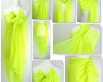 Neon Yellow Plain Sarong, Pareo, Beach Cover Up, Resort Wear, Pool Wrap, Holiday Wear, Vacation, Beach Dress, Neon Bright, Ladies Sarong