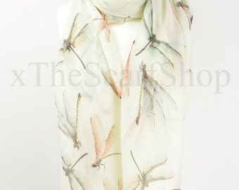 Ivory Dragonfly Print Scarf,Wrap,Shawl,Cover Up,Scarves,Christmas Gift, Ladies Gift,Oversize Scarf,Dragonflies Scarf,Dragonfly Lover,Chunky