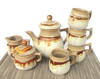 Vintage Tea Set, Laurentian Tundra Canada Pottery Set, Teapot, Creamer and Sugar Jar, Set of 4 Mugs, Beige White and Brown Pottery, Lava Set
