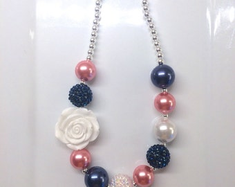 Navy Blue Coral Pink and White Spring Easter Chunky Bubblegum Beaded Toddler Girls Necklace