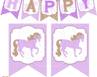 Purple Pony Printable Party Banner, Printable Cowgirl Western Happy Birthday Banner, Purple Pony Party Garland, Flag Banner, Horse Birthday