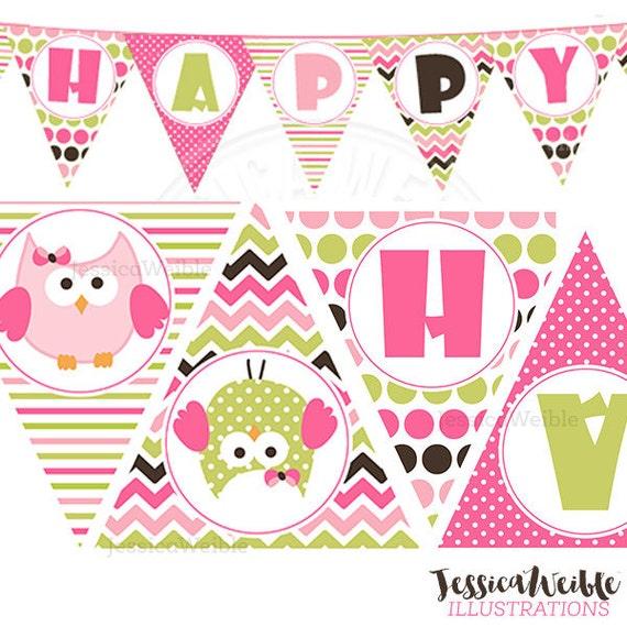 Birthday Girl Owl Printable Party Banner Printable Pink Owl