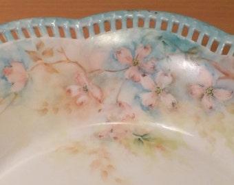 Vintage Schumann Arzberg Bavaria Reticulated Bowl Blue Floral
