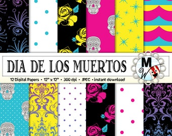 Day of the Dead Digital Paper Pack for Instant Download as Scrapbook Paper, Background, Printable Paper for Cards - Dia de los Muertos Paper