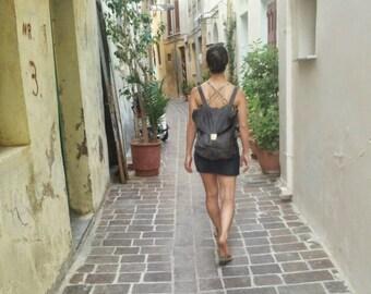 Everyday Leather Backpack, Women Black Rucksack, Minimalist Genuine Leather Travel Bag, Women's Laptop Backpack, College School Grad Gift