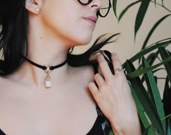 Delicate Vial Choker Glass Vial Necklace Glass Vial Pendant Dainty Choker Glass Bottle Pendant Double Thread Choker Boho Choker Gift for Her