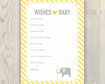 Wishes for Baby / Advice Cards - Yellow and Gray Elephant - Printable Instant Download