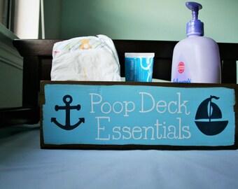Changing table organizer, Whale nursery, Nautical nursery, Nautical bathroom decor