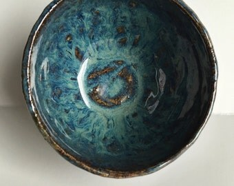 Small Blue and Green Puddles Bowl